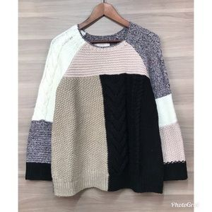 LOFT Multicolored Panel Knit Sweater